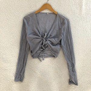 Brandy Melville blue white pinstripe Coco wrap top